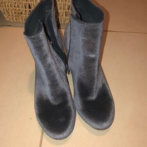 Velvet ankle boot 2in heel grey blue never worn